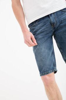 Bermuda di jeans straight fit effetto used, Denim, hi-res