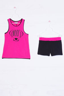 Stretch cotton outfit with print, Black/Pink, hi-res