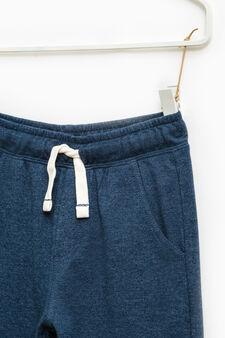 Pantaloni tuta cotone tinta unita, Blu avio, hi-res