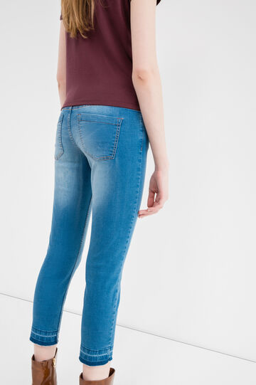 Worn-effect stretch cropped jeans, Medium Wash, hi-res