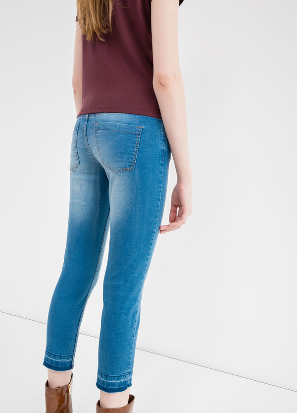 Worn-effect stretch cropped jeans | OVS