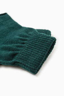 Fingerless gloves with ribbing, Forest Green, hi-res