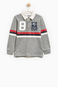 Polo shirt with long sleeves and patch, Grey Marl, hi-res