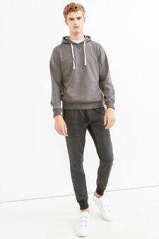 Solid colour cotton blend hoodie, Grey, hi-res