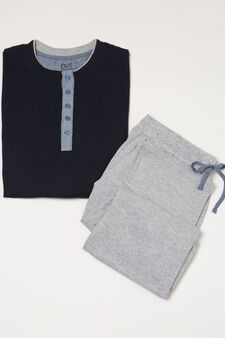 Pyjamas in 100% cotton, Navy Blue, hi-res