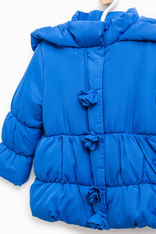Down jacket with floral applications, Blue, hi-res