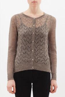 Wool blend embroidered cardigan, Light Beige, hi-res