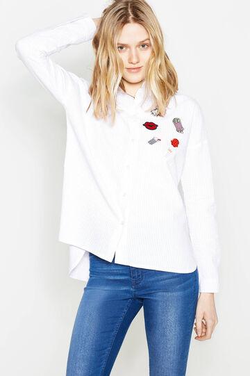 Camicia in cotone a righe con patch, Bianco/Rosa, hi-res