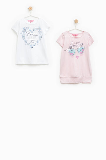 Two-pack T-shirts with glitter print, White/Pink, hi-res
