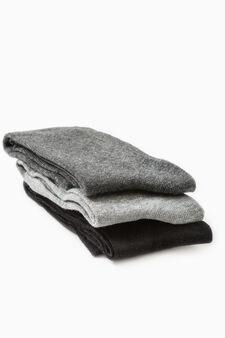Three-pair pack long socks, Grey, hi-res
