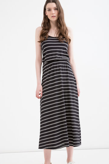 Long 100% viscose dress with stripes, Black/White, hi-res