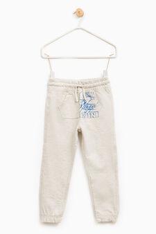 Pantaloni tuta con tasca a marsupio, Beige, hi-res