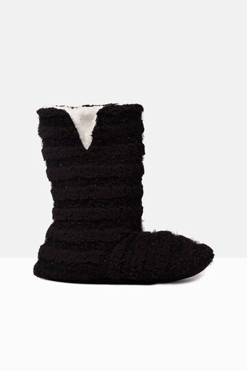 Solid colour slipper boots, Black, hi-res