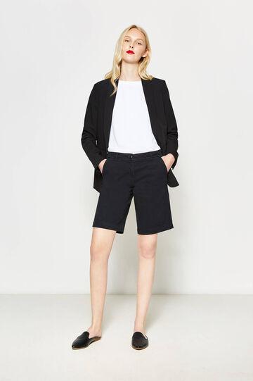 Stretch cotton chino Bermuda shorts, Black, hi-res