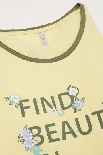 Camicia da notte stampa lettering, Giallo, hi-res