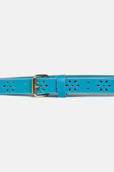 Openwork skinny belt, Blue, hi-res