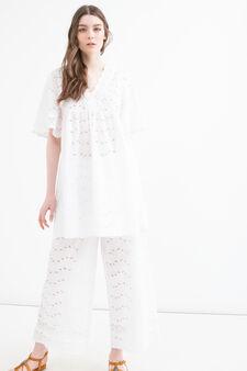 100% cotton short dress, Cream White, hi-res