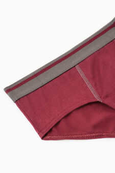 Five-pack patterned and solid colour briefs, Red, hi-res