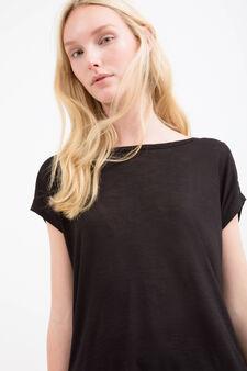 T-shirt puro rayon inserto pizzo, Nero, hi-res