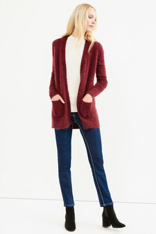 Cardigan with buttonless opening, Aubergine, hi-res