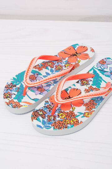 Floral thong sandals, White, hi-res