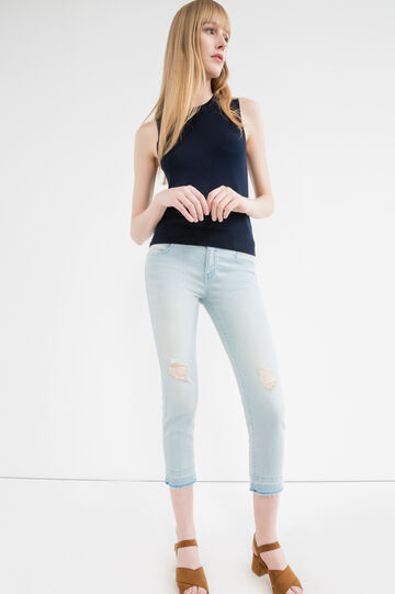 Cropped stretch jeans with rips, Soft Blue, hi-res