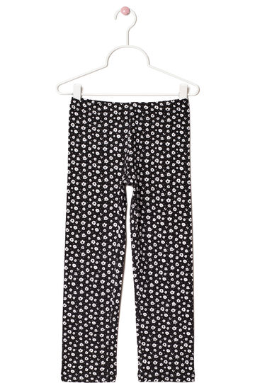 Printed leggings in stretch cotton, White, hi-res