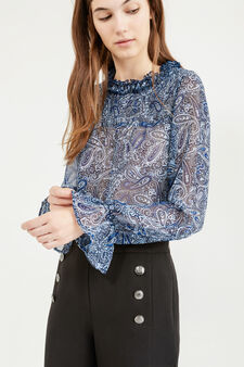 Blusa semitrasparente stampa all-over, Blu, hi-res