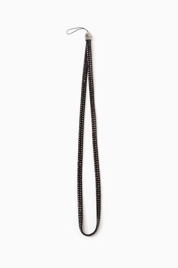 Wrist strap with diamantés, Black, hi-res