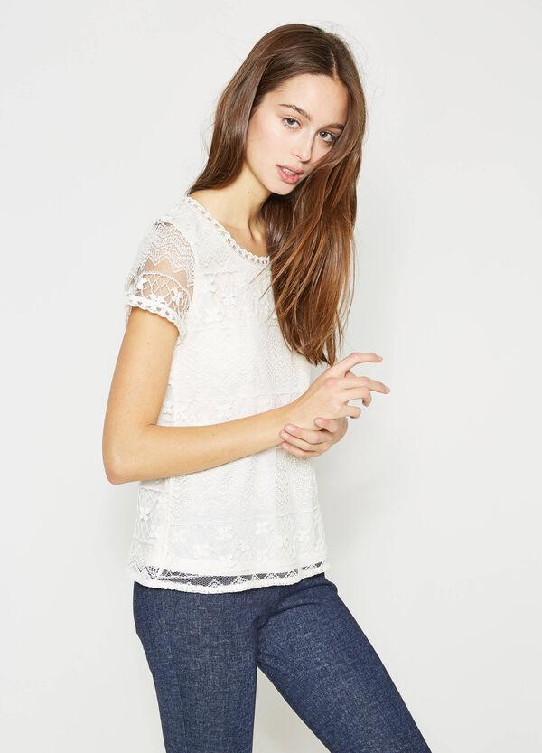 T-shirt in pizzo con maniche semitrasparenti | OVS