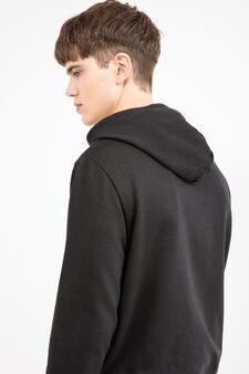 Cotton blend hoodie., Black, hi-res