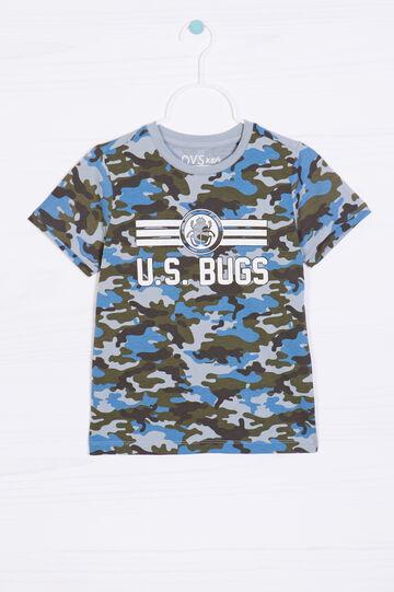 100% cotton camouflage T-shirt, Turquoise Blue, hi-res