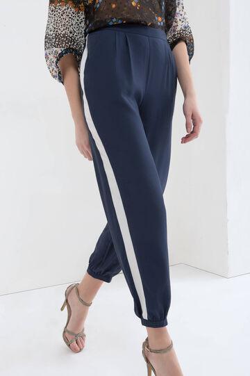Pantaloni vita alta elasticata cotone, Blu navy, hi-res