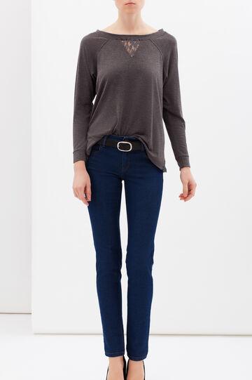 Viscose mix T-shirt with lace, Grey, hi-res
