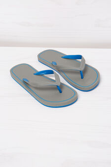 Thong sandals with contrasting colour band., Grey, hi-res