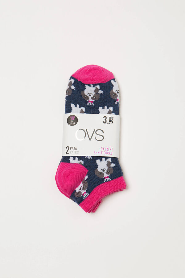 Two-pair pack cotton patterned socks | OVS