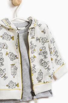 Cotton sweatshirt and T-shirt set, Milky White, hi-res