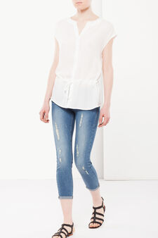 Sleeveless blouse with drawstring, White, hi-res