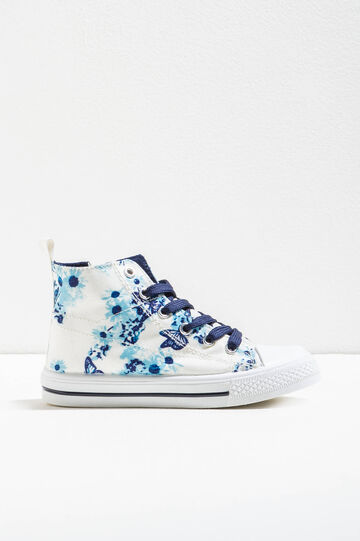Floral print high sneakers, White/Blue, hi-res