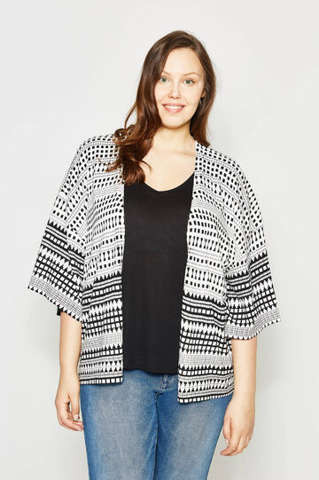 Curvy cardigan with ethnic print