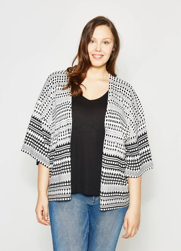 Curvy cardigan with ethnic print | OVS