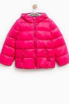 Down jacket with double pocket and hood, Fuchsia, hi-res