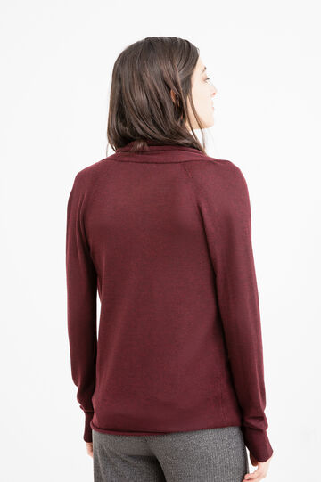 Solid colour pullover in viscose blend, Claret Red, hi-res