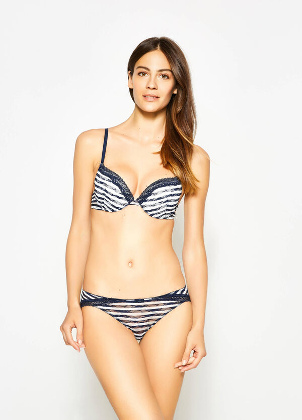 Push-up lace bra with stripes | OVS