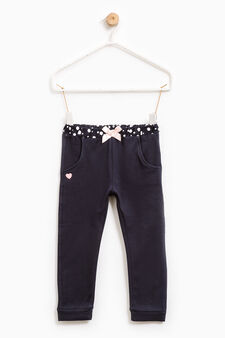 Stretch joggers with bow, Blue, hi-res