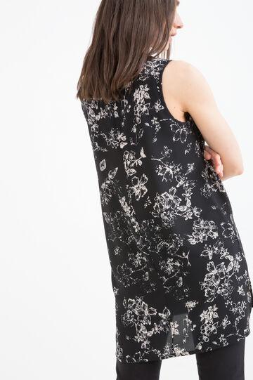 Blusa stretch con fantasia floreale, Nero, hi-res