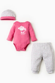 Cotton patterned outfit, Grey/Pink, hi-res