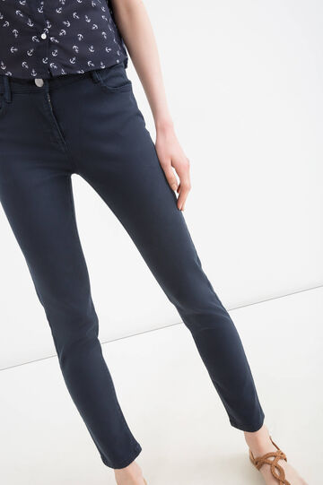 Modal and cotton blend trousers, Navy Blue, hi-res