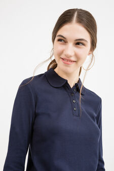 Polo shirt in 100% cotton with long sleeves, Dark Blue, hi-res