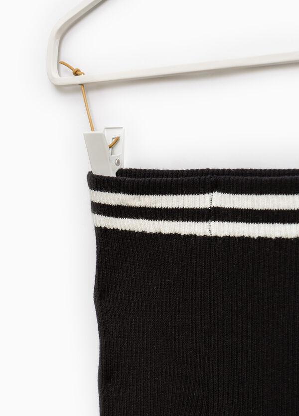 Leggings misto cotone stretch a coste | OVS